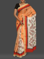 Orange And White Printed Kerala Cotton Saree - Komal Sarees