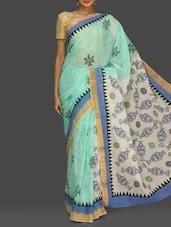 Sea-green And White Printed Kerala Cotton Saree - Komal Sarees