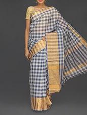 Check Printed Zari Handloom Cotton Saree - Komal Sarees
