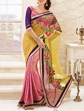 yellow and pink applique worked net saree  available at Limeroad for Rs.2449