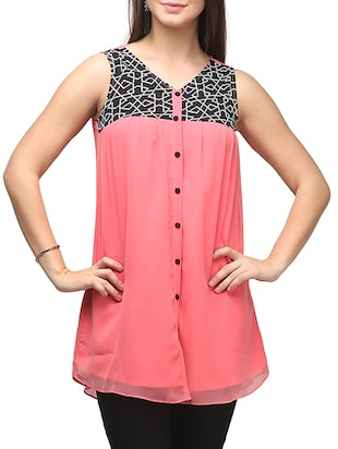 pink color, georgette tunic