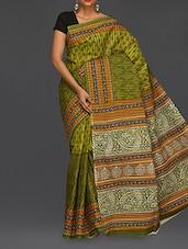 Ethnic Print Pallu Green Matka Cotton Saree - Komal Sarees
