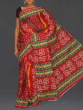 Bandhej Print Red Matka Cotton Saree - Komal Sarees