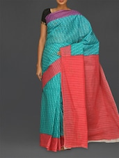 Geometric Print Blue Matka Cotton Saree - Komal Sarees