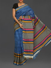 Block Printed Blue Matka Cotton Saree - Komal Sarees