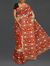 Orange Printed Pure Cotton Saree - Komal Sarees