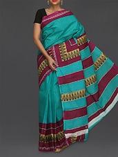 Sky Blue Printed Pure Cotton Saree - Komal Sarees