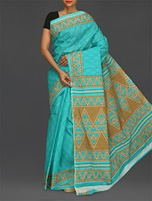 Sky Blue Printed Pure Cotton Saree - Komal Sarees