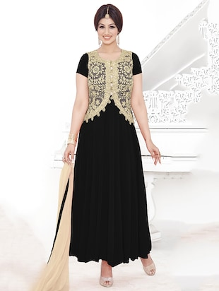 black georgette embroidered dress material