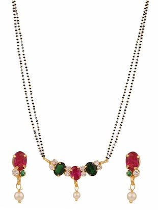 multi colored gold plated necklace -  online shopping for Necklaces