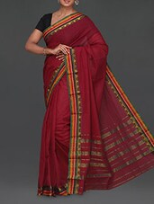 Multicolor Striped Border Maroon Cotton Saree - Komal Sarees