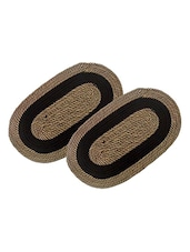 Set Of 2 Multi Colored Cotton Doormat - By