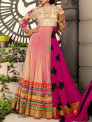 multi colored georgette embroidered dress material