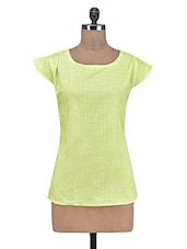 Lemon Green Cotton Polka Dots Print Top - By