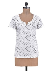 White Cotton Printed Top - By