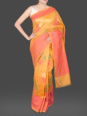 Floral Printed Yellow Silk Blend Saree - BANARASI STYLE