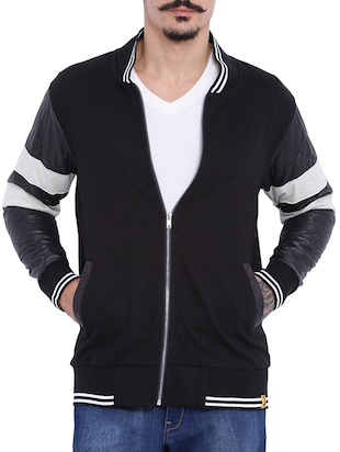 black color, cotton casual jacket