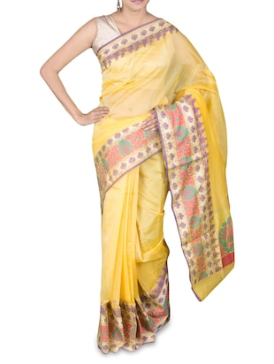 Yellow Color Cotton Blend Bordered  Saree