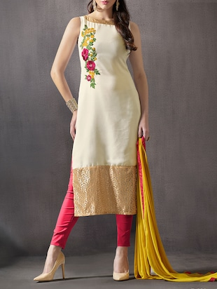 white georgette unstitched suit