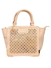 Beige Cut-work Leatherette Handbag - Lengloy