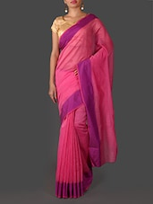 Pink Silk Saree With Purple Border - Janasya