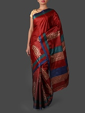 Red Paisley Printed Art Silk Saree - Janasya