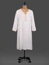 White Cotton Kurti With Zari Trim - By