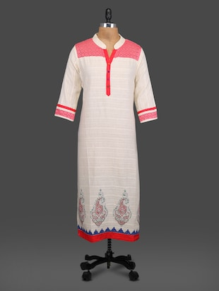 Multicolored Cotton block Printed Laced Kurti -  online shopping for kurtas