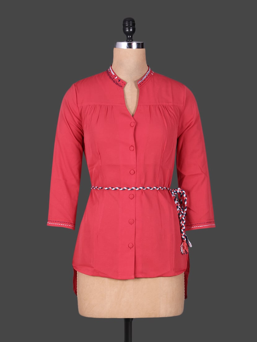 Red Hi-Lo Shirt With Rope Belt - By
