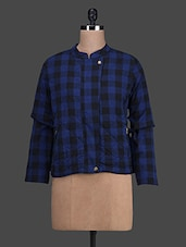 Blue And Black Chequered Cotton Jacket - Oranje