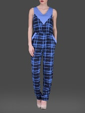 Blue Printed Sleeveless Poly-crepe Jumpsuit - AARDEE