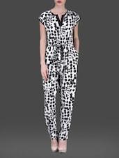 Monochrome Printed Poly-crepe Jumpsuit - AARDEE