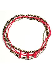 Gold Toned And Pink Beaded Metal Multi Chain Necklace - By