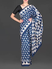 Blue Leaf Printed Mulmul Cotton Saree - Aaradhya Creation
