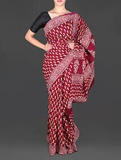 Maroon Printed Mulmul Cotton Saree - Aaradhya Creation