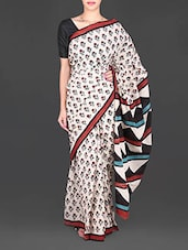 Cream Floral Printed Mulmul Cotton Saree - Aaradhya Creation