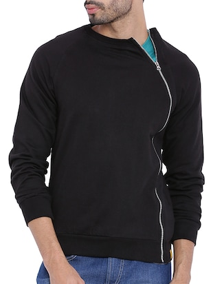 black cotton quirky sweatshirt