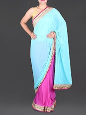 Aqua Blue And Pink Chiffon Saree - Saree Street