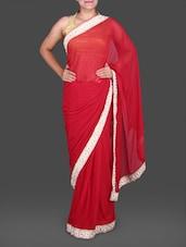 Red Chiffon Saree With Floral Border - Saree Street