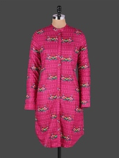 Floral Printed Full Sleeve Pink Kurta - JUNIPER Fruit Of Fashion
