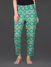 Green Printed Ethnic Cotton Pants - JUNIPER Fruit Of Fashion