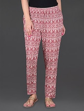 Maroon Printed Ethnic Cotton Pants - JUNIPER Fruit Of Fashion