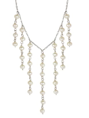 Sterling Silver with Cascading White Pearls Neckpiece