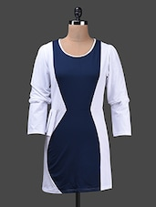 Round Neck Long Sleeves Dual Tone Dress - Albely