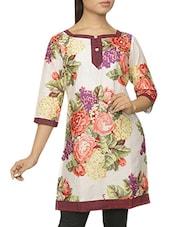 Quarter Sleeves Floral Print Kurti - Pazaar Purba