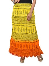 Yellow Printed Ombre Cotton Long Skirt - KIFA