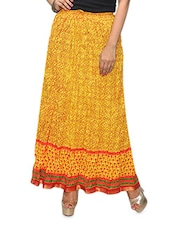 Yellow Printed Cotton Long Skirt - KIFA