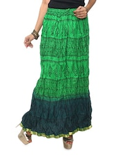 Green Printed Ombre Cotton Long Skirt - KIFA