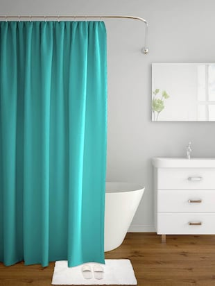 solid aqua blue polyester shower curtain