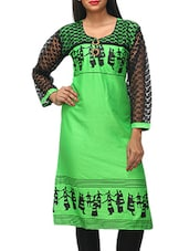 Green Printed Kurti With Black Sleeves - KIFA